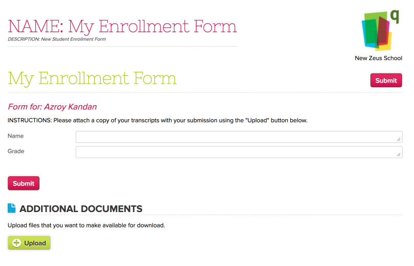 Upload Files while submitting Online Forms