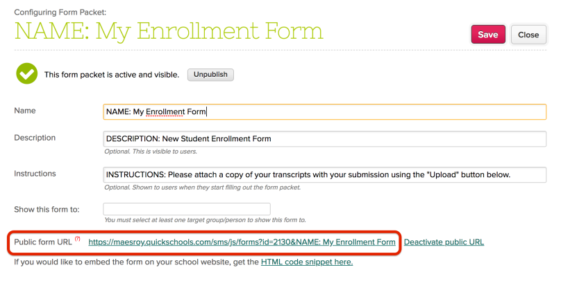 Public URL for Online Form Packets