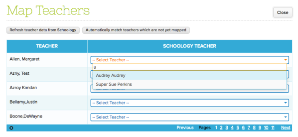 Step 1: Map Teachers from QuickSchools to Schoology