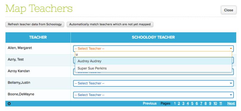 Step 1: Map Teachers from QuickSchools to Schoology