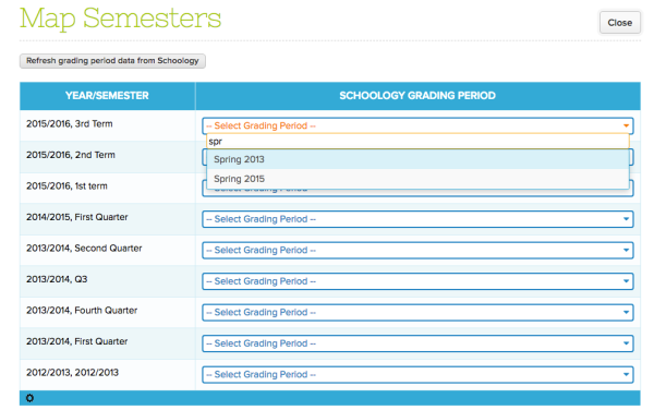 Step 3: Map Semesters from QuickSchools to Schoology