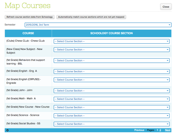 Step 5: Map Courses from QuickSchools to Schoology