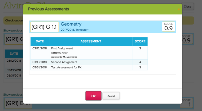 Viewing Previous Assessments for a Standard