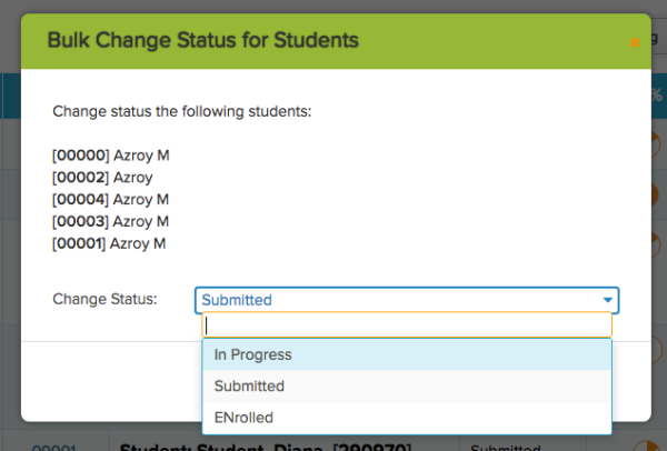 Select New Status for Online Form Submissions in Bulk