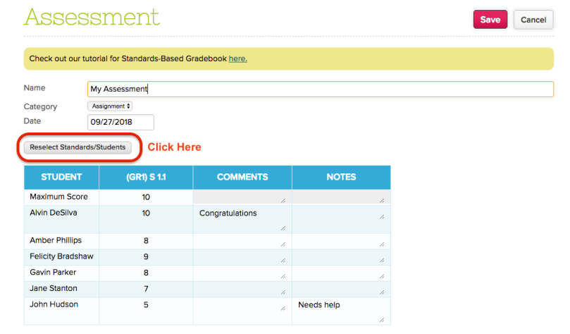 Assessment screen shows grades by Standard