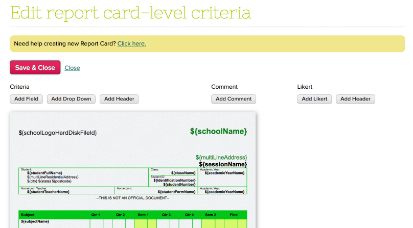 Edit report card-level criteria (for Conduct section)