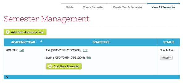 New Semester Setup