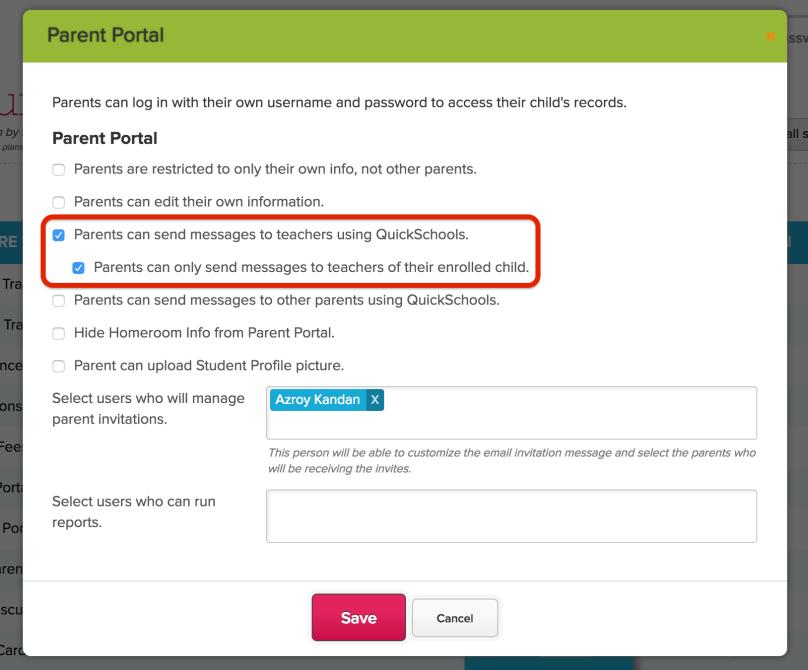 Configure Parent Portal to Restrict Private Messaging to Teachers