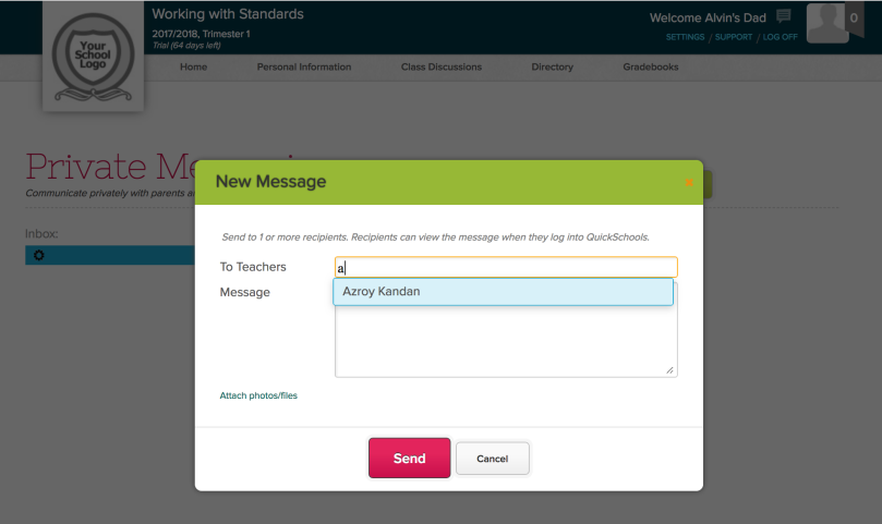 Creating Private Messages from the Parent Portal