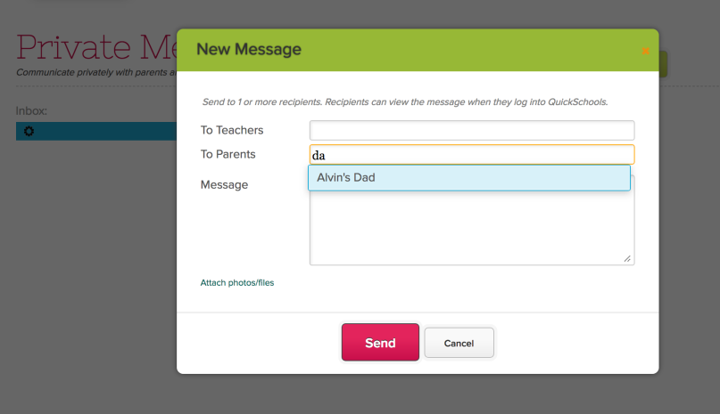 Teachers creating Private Messages to Parents