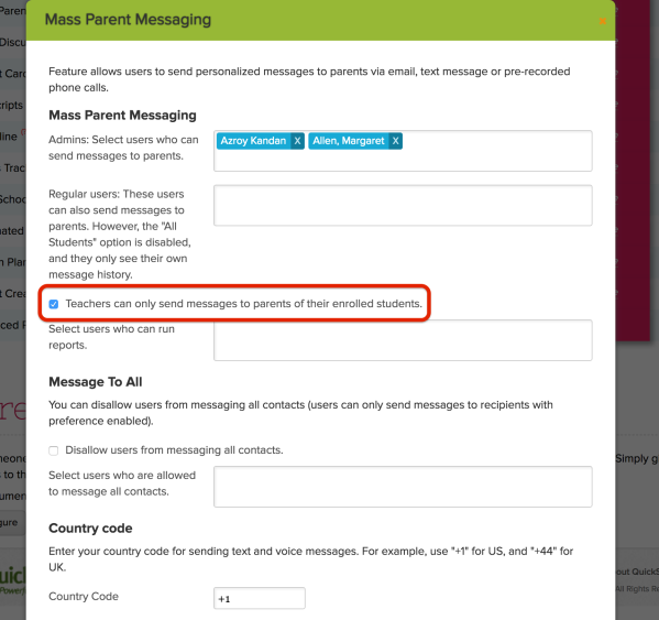 Configure Mass Parent Messaging with Restricted Access to Parents