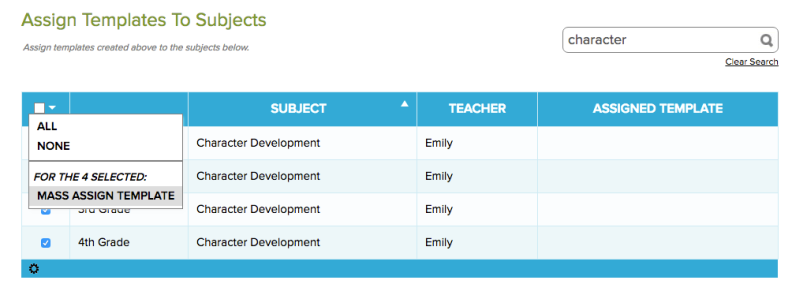 Select Subjects to Mass Assign Template