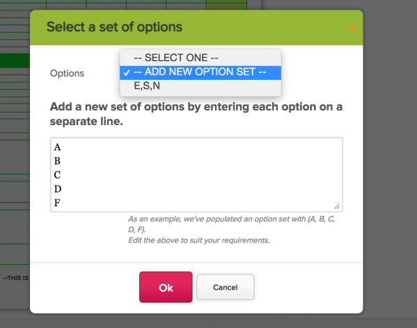 Setting Options for Dropdowns