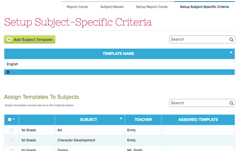 Setup Subject-Specfic Criteria for Report Cards