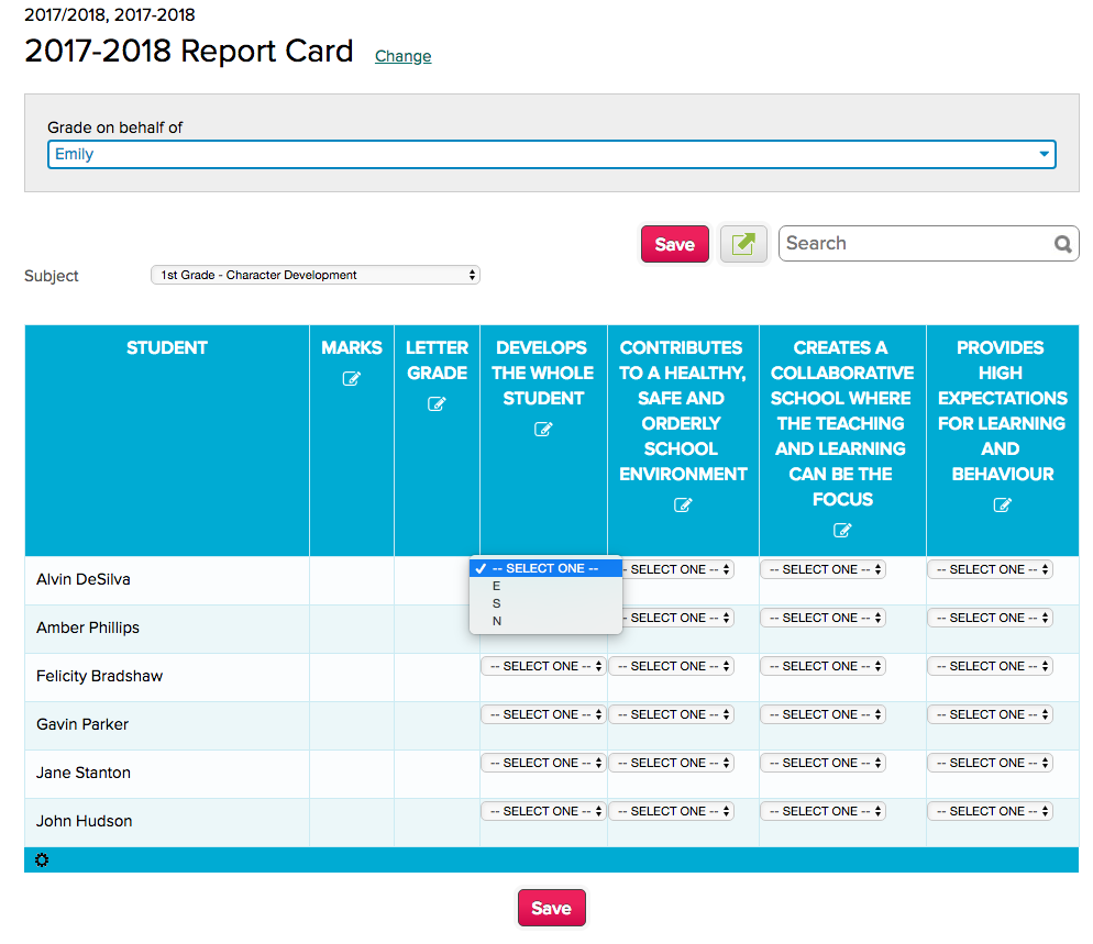 """Report Cards Subject-Based Screen with criteria from the """"Conduct"""" subject template"""