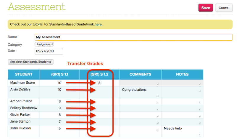Transfer Grades in the Assessment