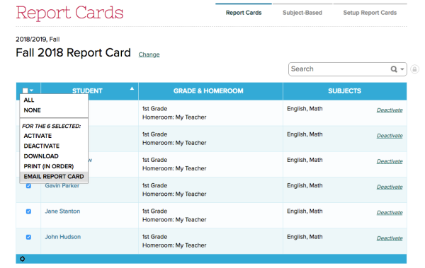 Bulk Email Report Cards