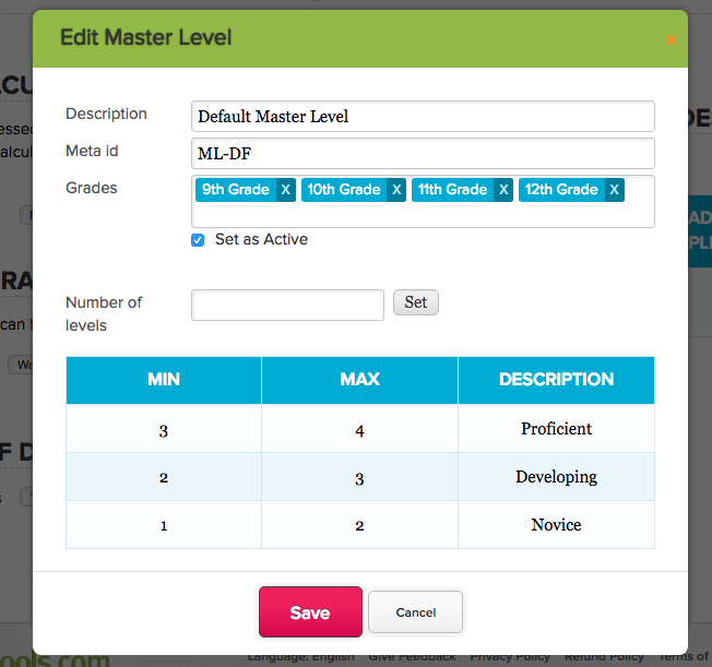 Multiple Mastery Levels in the Standards-Based Gradebook
