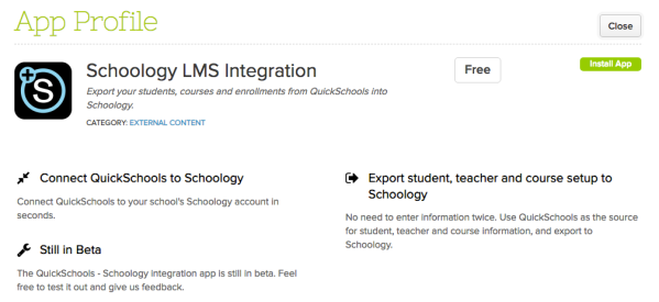 Schoology Integration App on QuickSchools App Store