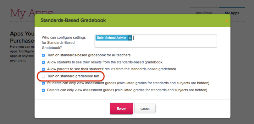 Turn on Standards Gradebook tab