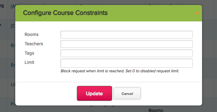 Course Request Limit by Course for Student Portal