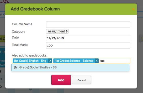 Create Gradebook Columns for Multiple Subjects