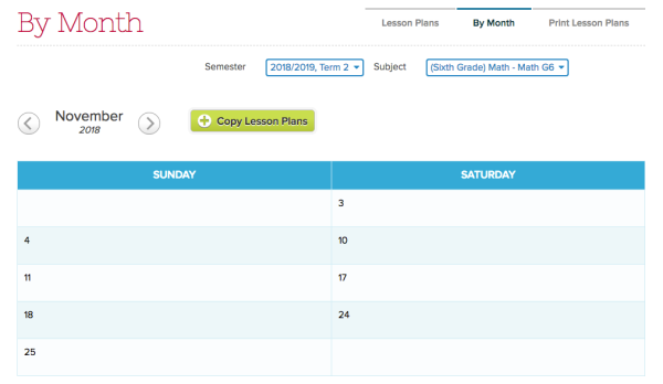 Lesson Plans by Subject configured for Saturday and Sunday