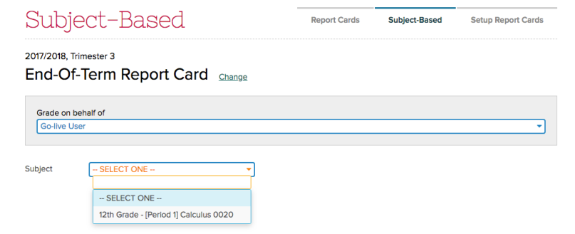 Updated Dropdown in Report Cards