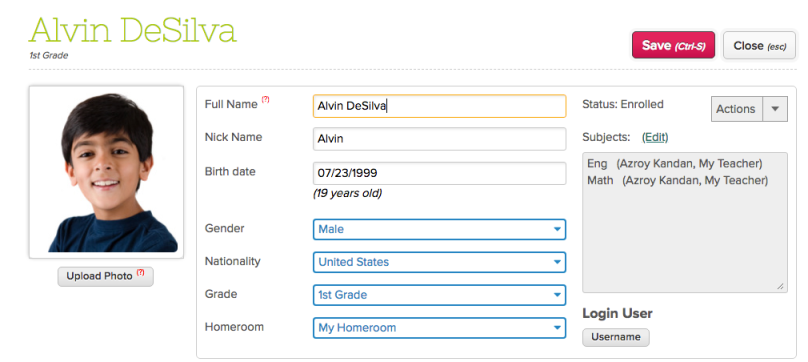 Updated Dropdown on Student Record
