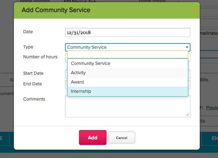 Internship Type for Community Service App