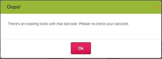 Error Adding Books with Duplicate Barcode