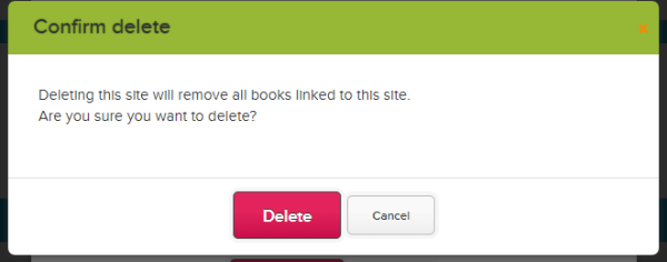 Warning when deleting a Library Site