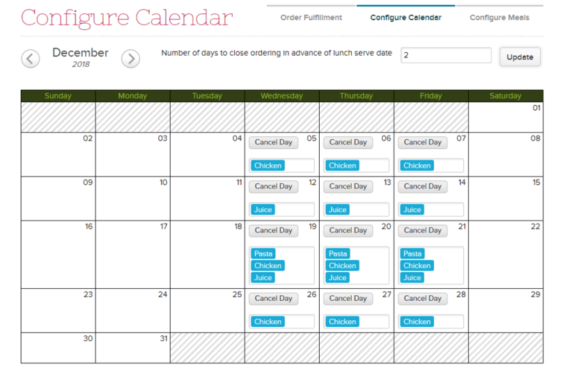 Lunch Ordering Configured with Schools Days on Wednesday thru Friday