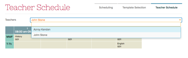 Admin can select Teacher Schedule