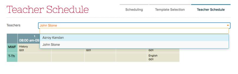 Admin can select Teacher Schedule