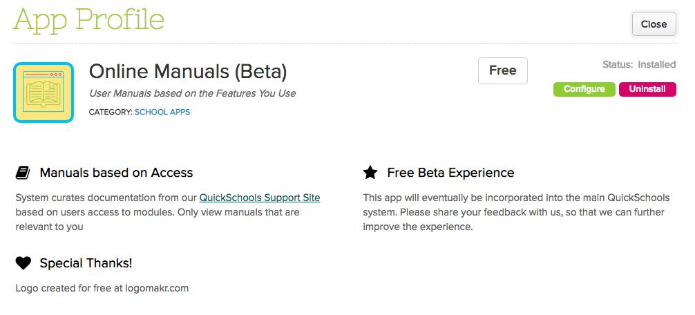 Online Manuals (Beta) App