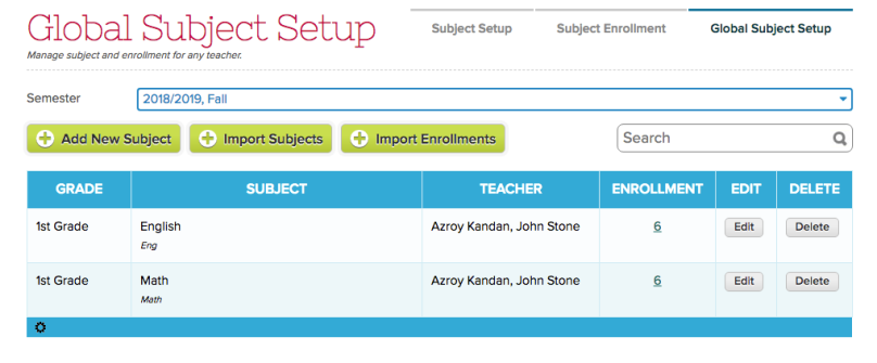 Subject and Subject Enrollment Import buttons on Global Subject Setup screen