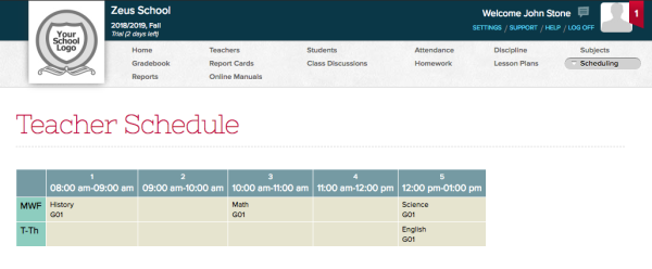 "Teacher Schedule under the ""Scheduling"" menu"