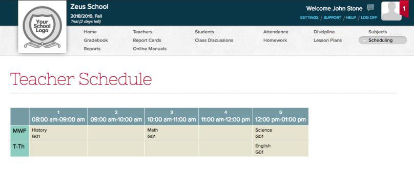 """Teacher Schedule under the """"Scheduling"""" menu"""