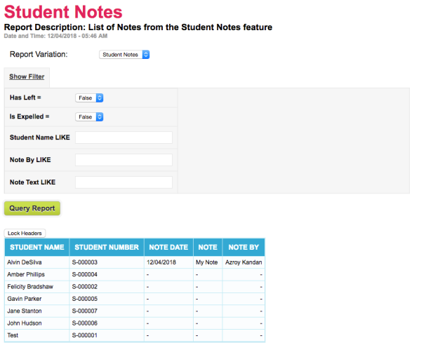 Example Student Notes Report