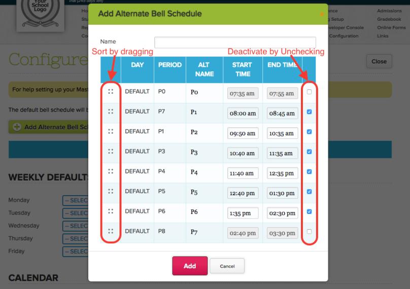 Altername Bell Schedule in Master Scheduler