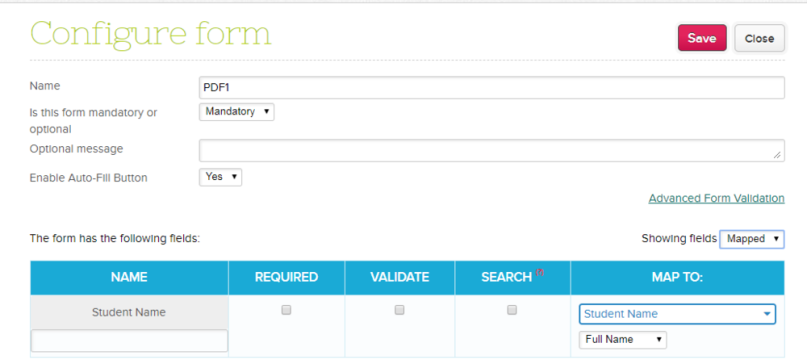 Filter Mapped and Unmapped Fields in Online Forms app