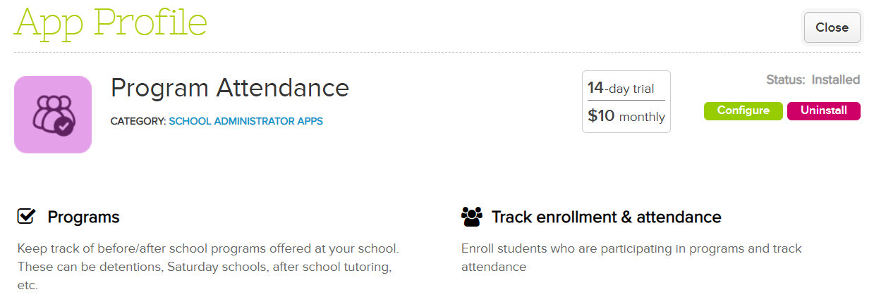 program attendance blog