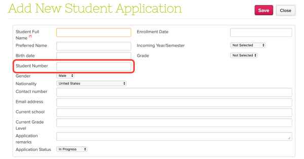 Admissions Application with Student Number