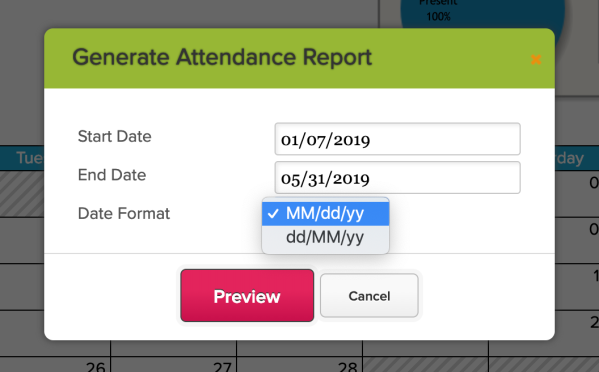 Attendance PDF with Date Format Options