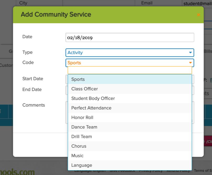 Community Service Default Codes
