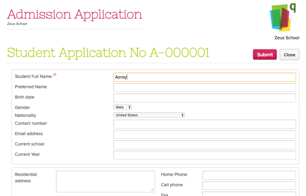 Admissions Application that has been Retrieved Online