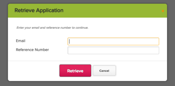 Applicant can Retrieve Application using Email and Reference Number