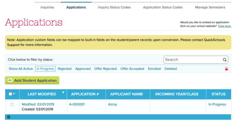 Admission Applications by Status