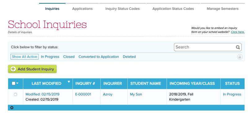 Admission Inquiries by Status